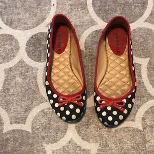 Rampage Black and White Minnie Mouse Dot Flats